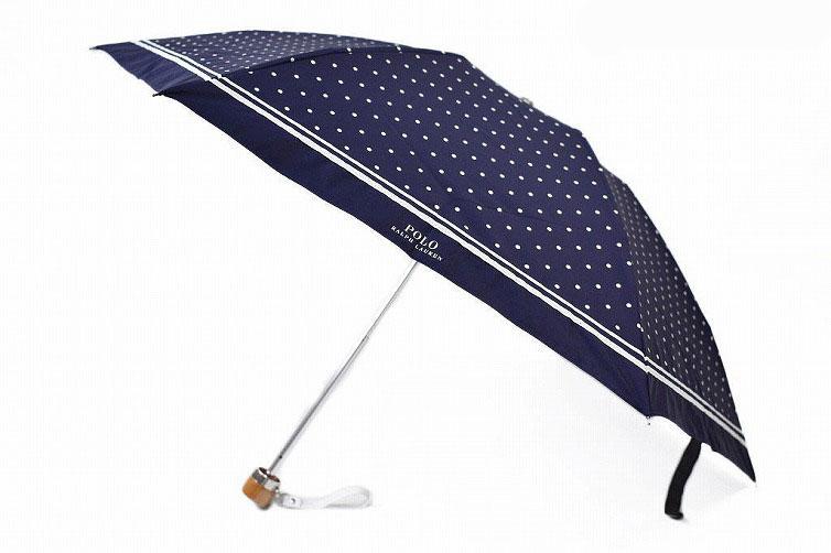 ポロ ラルフローレン 日傘 折りたたみ 傘 レディース ブランド POLO Ralph Lauren ドット ロゴ 紺 白 ネイビー × ホワイト 50cm 女性 婦人 UV 晴雨兼用 遮光 遮熱