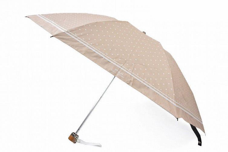 ポロ ラルフローレン 日傘 折りたたみ 傘 レディース ブランド POLO Ralph Lauren ドット ロゴ 茶 白 ベージュ × ホワイト 50cm 女性 婦人 UV 晴雨兼用 遮光 遮熱