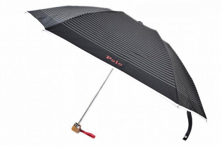 ポロ ラルフローレン 日傘 折りたたみ 傘 レディース ブランド POLO Ralph Lauren ボーダー ロゴ 黒 ブラック 系 50cm 女性 婦人 UV 晴雨兼用 遮光 遮熱