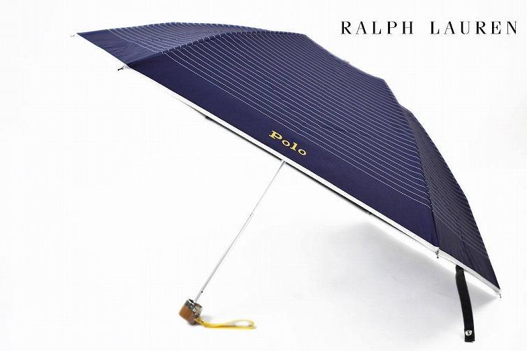 ポロ ラルフローレン 日傘 折りたたみ 傘 レディース ブランド POLO Ralph Lauren ボーダー ロゴ 紺 ネイビー 系 50cm 女性 婦人 UV 晴雨兼用 遮光 遮熱