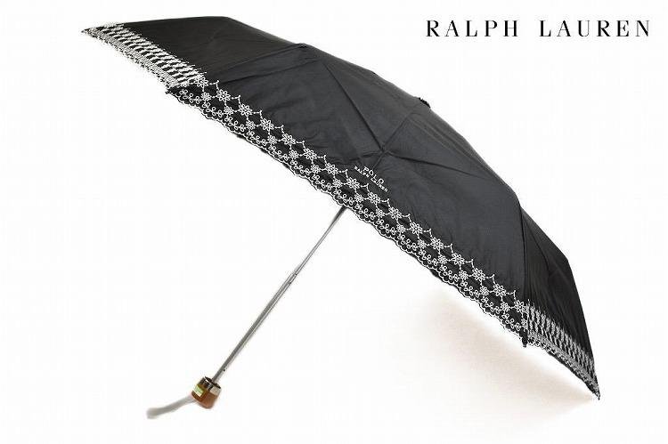 ポロ ラルフローレン 日傘 折りたたみ傘 レディース ブランド POLO Ralph Lauren ロゴ フラワー 刺繍 黒 ブラック 50cm 女性 婦人 UV 晴雨兼用 遮光 遮熱 【あす楽】