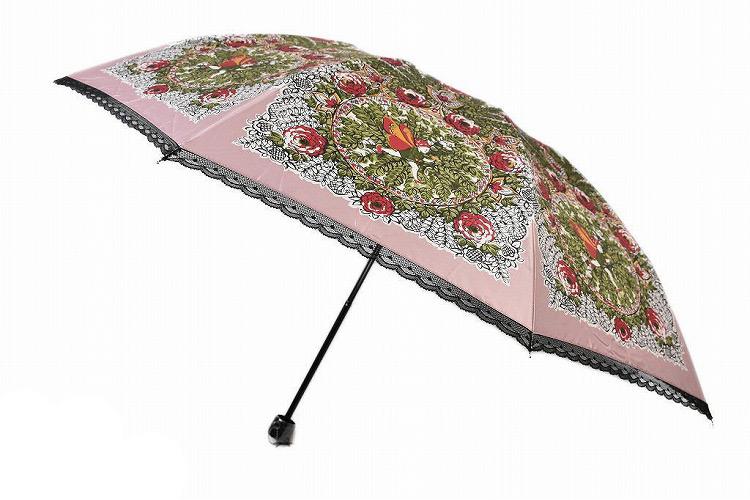 アナスイ 折りたたみ 雨傘 レディース アナスイ 折りたたみ 雨傘 レディース ブランド ANNA SUI 日本製 55cm フラワー × ピコレース ピンクベージュ 系 | 女性 婦人 母の日 ギフト 【あす楽】