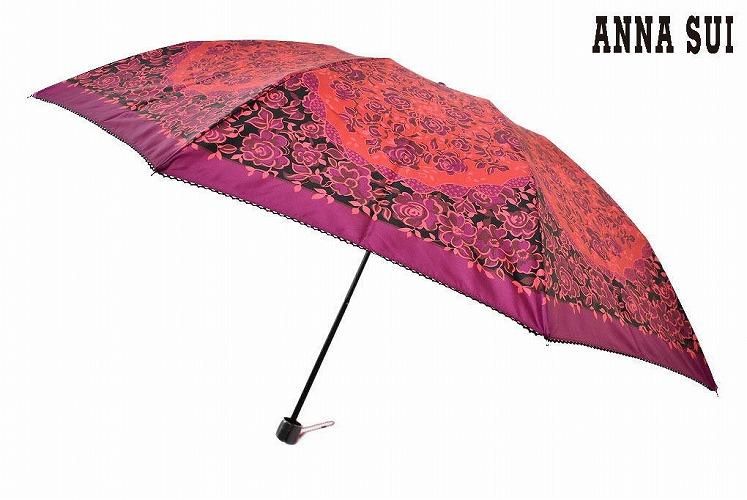 折りたたみ傘 訳あり品送料無料 プレゼント ギフト おしゃれ 新品 アナスイ 折りたたみ 傘 雨傘 レディース ブランド 最安値に挑戦 女性 ローズフラワー 婦人 55cm 系 SUI パープルオレンジ ピコレース ANNA あす楽 ×