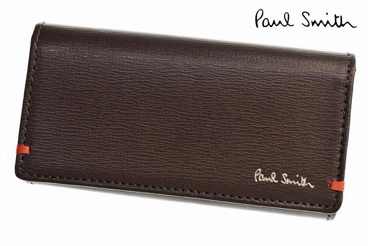ポールスミス キーケース メンズ ブランド Paul Smith カラーコンビパルメラート 4連 キーリング付 専用箱付 茶 ブラウン | 男性 紳士 本革 PSC183 x1x 【あす楽】