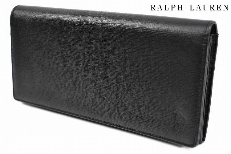 ポロ ラルフローレン 長財布 財布 メンズ ブランド POLO Ralph Lauren フラップ 専用箱付 黒 ブラック | 男性 紳士 本革 P-1011 【あす楽】
