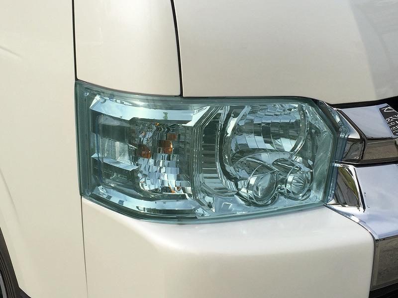 ヘッドライトカバー ライトグリーン かんたん脱着 ハイエース 200系 4型、4型後期(5型)、4型最終(6型)