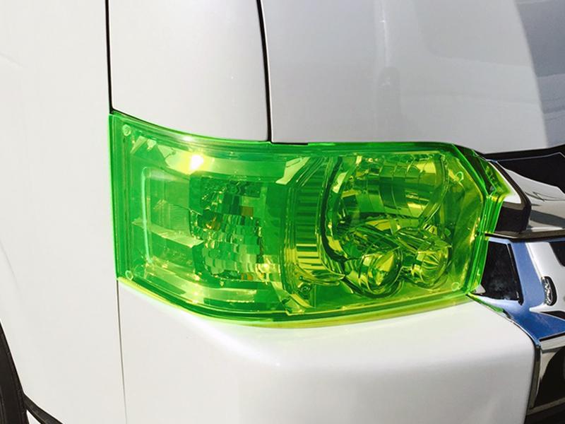 ヘッドライトカバー かんたん脱着 ネオングリーン ハイエース 200系 4型