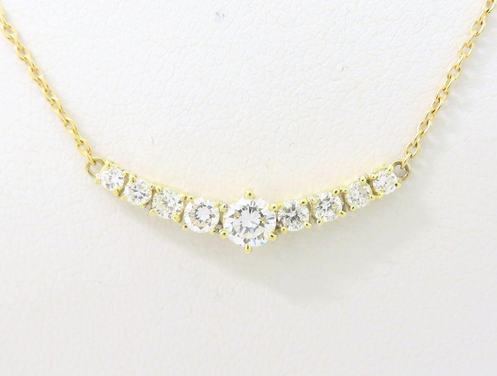 K18YG ダイヤモンド 0.33ct 0.30ct ネックレス【池袋店】【中古】