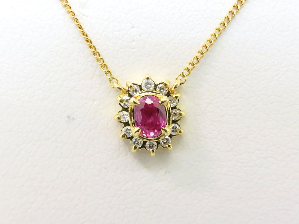 K18YG ルビー 0.30ct ダイヤモンド 0.07ct ネックレス【池袋店】【中古】