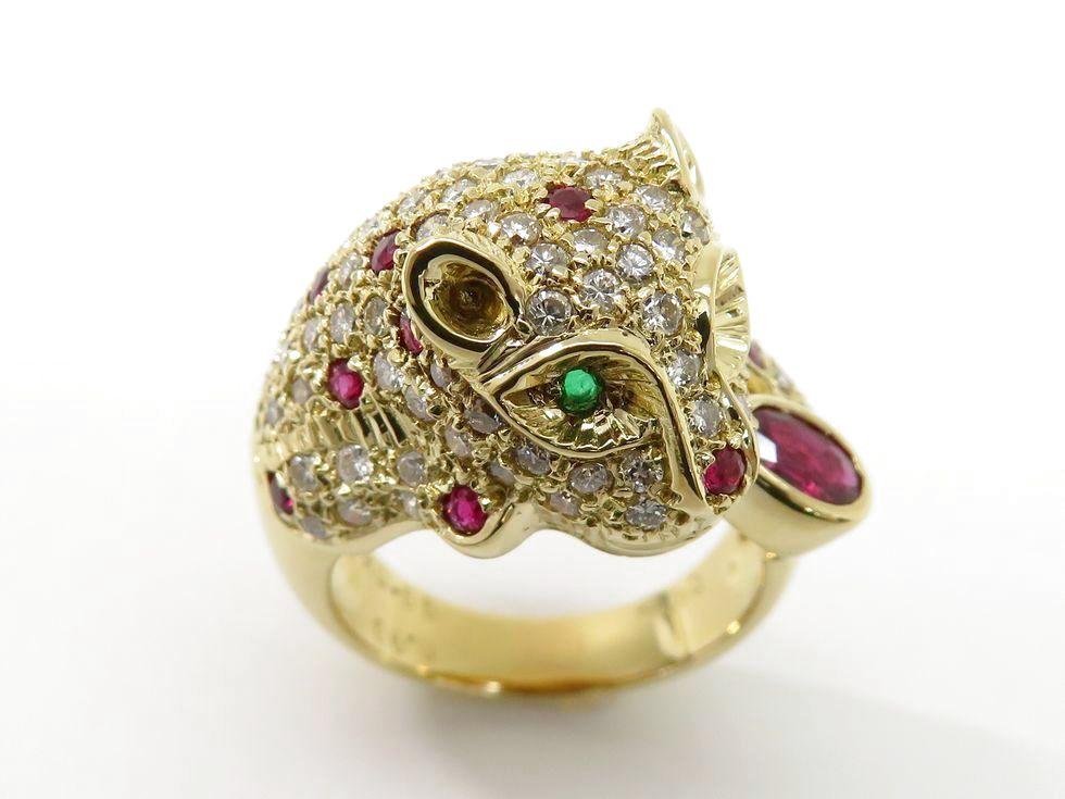 K18YG ダイヤモンド1.30ct ルビー0.55ct/0.90ct 緑石2ヶ パンサー リング #15【池袋店】【中古】
