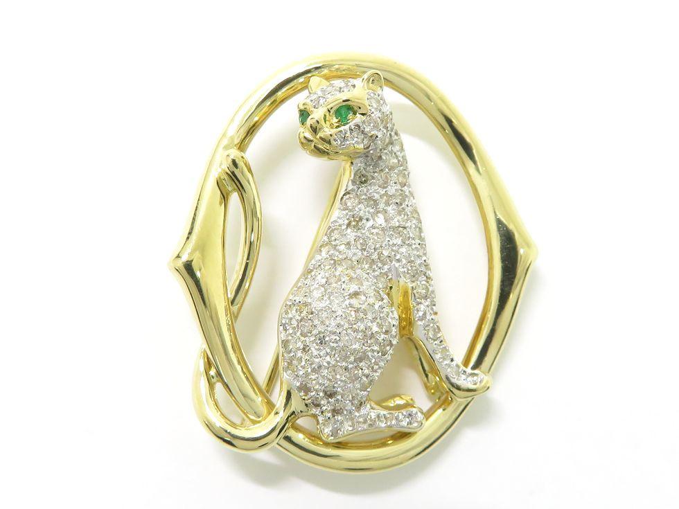 K18YG/WG エメラルド 2ヶ メレダイヤモンド 1.05ct ブローチ【池袋店】【中古】