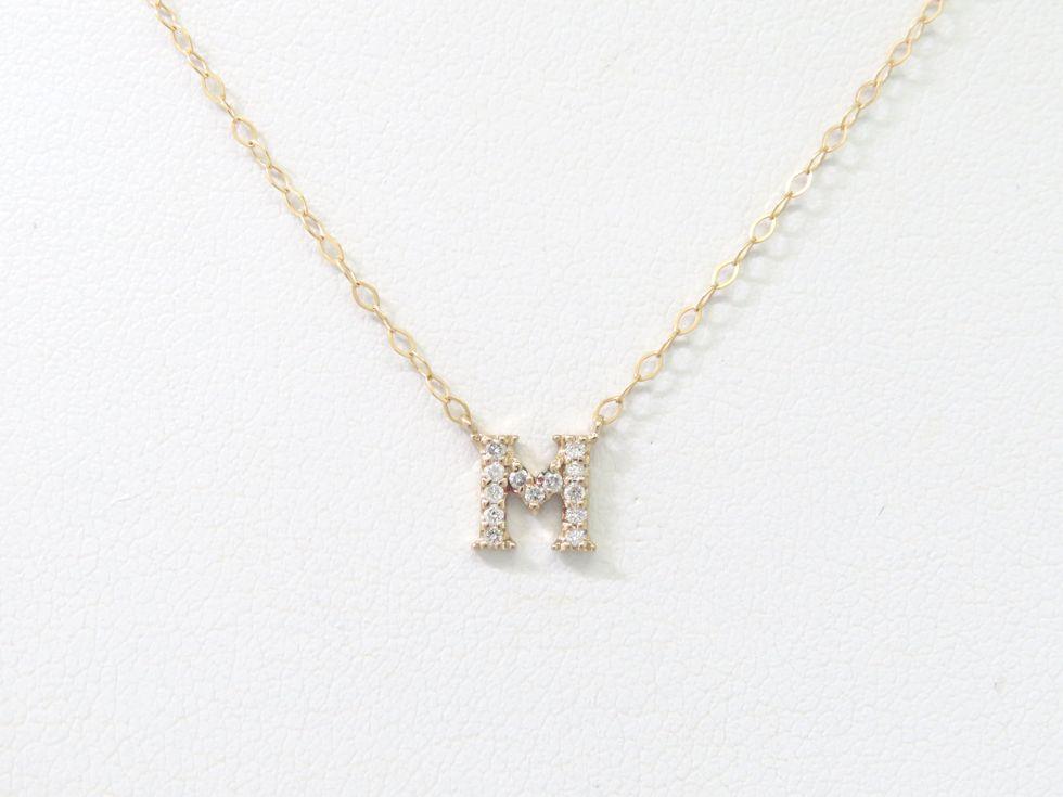 【新着】サマンサティアラ K18PG メレダイヤ 13ヶ 「M」デザイン ネックレス 【池袋店】【中古】