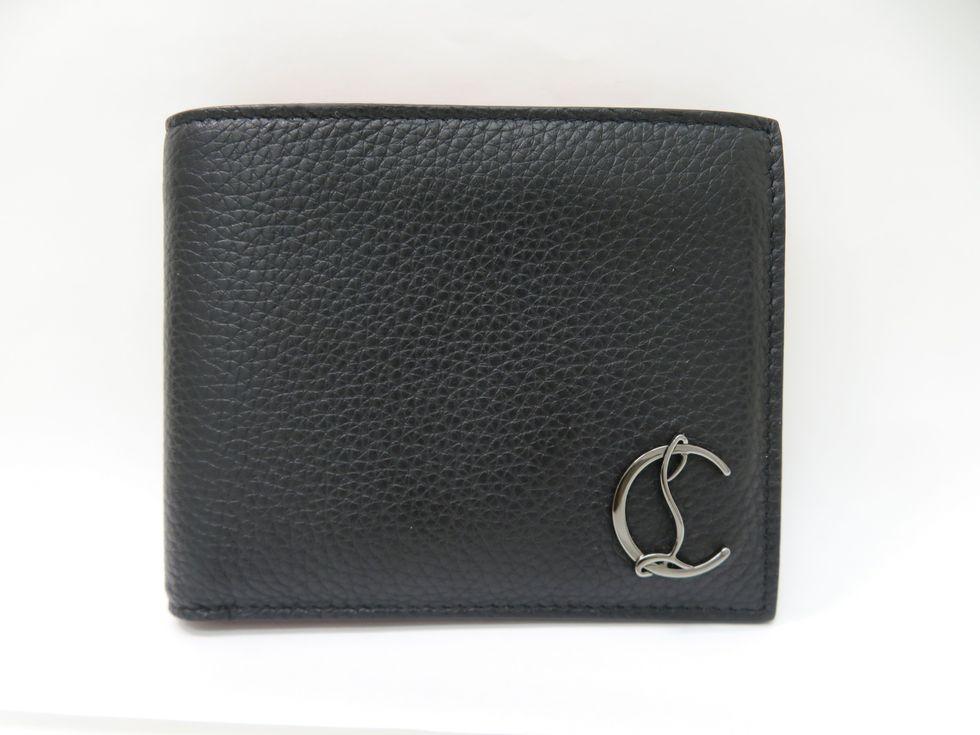 クリスチャンルブタン 3195053B078 カーフレザー ブラック×レッド Coolcard Wallete 二つ折り財布【池袋店】【中古】