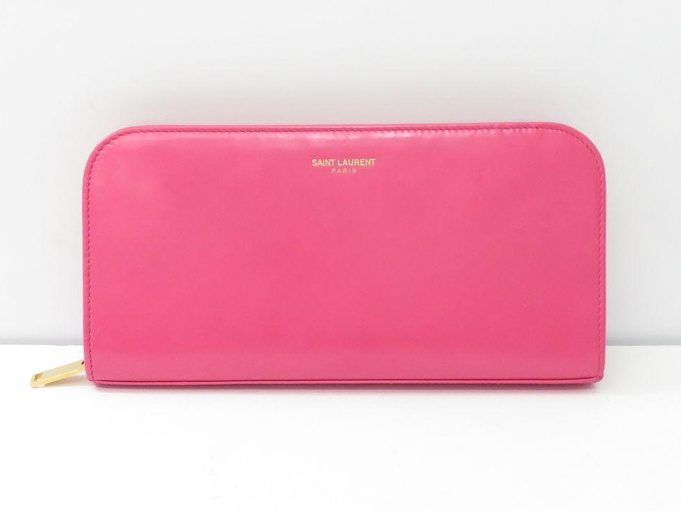 サンローラン 326599 レザー/ピンク ラウンドファスナー財布【池袋店】【中古】