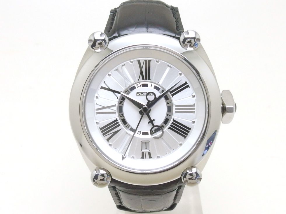 セイコー SBLM001(8L36-00C0) ガランテ メカニカル GMT SSxオニキス 革ベルト 自動巻き メンズ 時計 【新宿店】【中古】