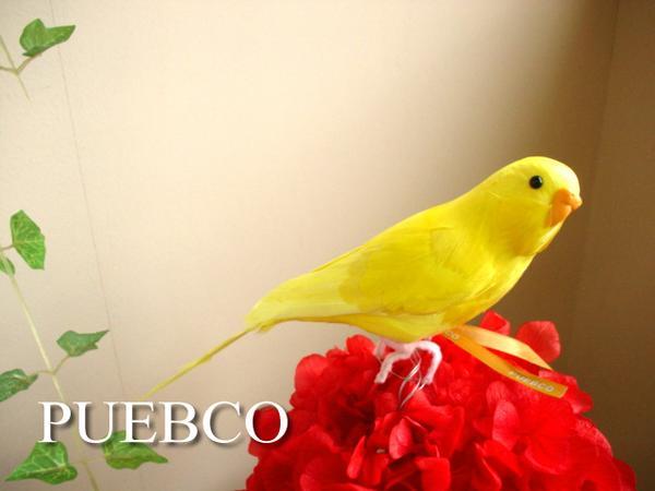 在庫処分 セキセイインコのリアルオブジェ ブルーグリーンピンクホワイト色々あり PUEBCO プエブコ お買い得品 鳥雑貨通販 セキセイインコ イエロー Budgie