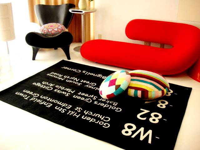 ★送料無料★バスステーションフロアラグマット140×200cm ブラック/グレー/ブルー バスロールサインマットミッドセンチュリーモダンカーペット絨毯
