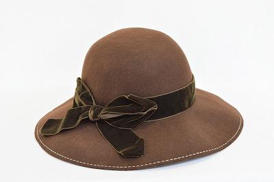 ウール帽体 帽子 レディース 婦人 ハット FERRUCCIO VECCHI 3631083 こげ茶 イタリア製 インポート 秋冬