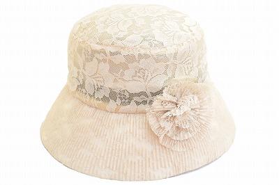 ●送料無料● 総レースが新鮮!日本人デザイナー帽子 華やかな総レース♪ 帽子 つば広 TY291 ベージュ レディース 婦人 ハット 総レース デザイナー帽子 紫外線対策 日除け 上品 華やか 旅行 バカンス プレゼント 母の日 エレガント おしゃれ ファッション ネット通販 送料無料 春夏