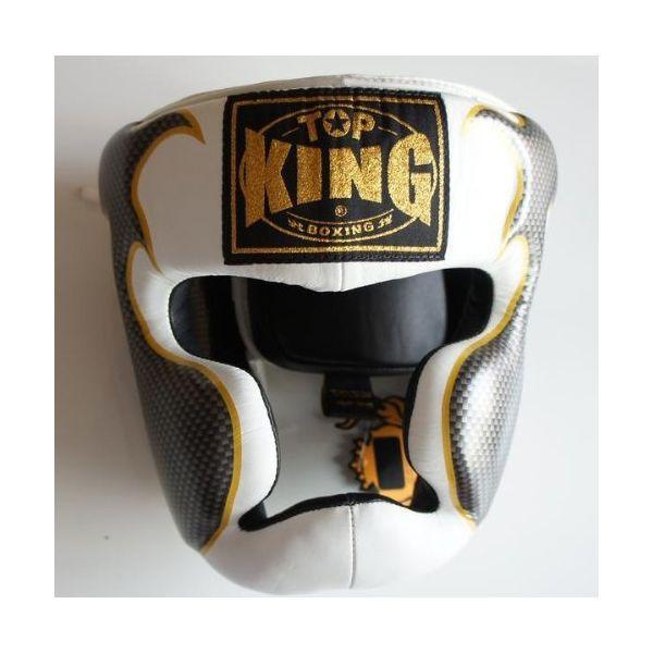 トップキング TOP KING キックボクシング ヘッドギア タトゥ 白銀 Lサイズ