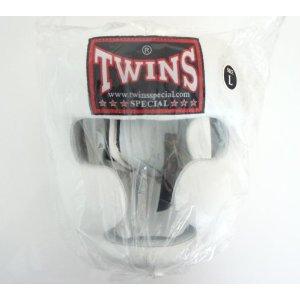 新TWINS ツインズ 本革製キックボクシングヘッドギア ヘッドガード 白 XLサイズ LL