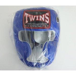 新TWINS ツインズ 本革製キックボクシングヘッドギア ヘッドガード 青 XLサイズ LL
