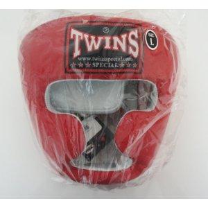 新 TWINS ツインズ 本革製 キックボクシング ヘッドギア ヘッドガード 赤 Lサイズ