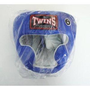 新 TWINS ツインズ 本革製 キックボクシング ヘッドギア ヘッドガード 青 Mサイズ