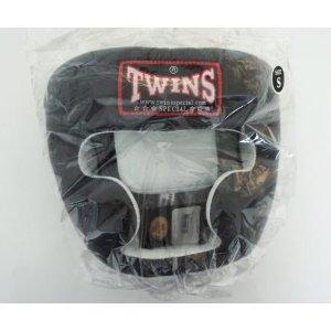 新 TWINS ツインズ 本革製 キックボクシング ヘッドギア ヘッドガード 黒 Sサイズ