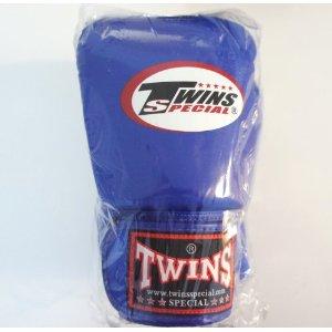 新 TWINS ツインズ 本革製キックボクシング グローブ 青 12オンス