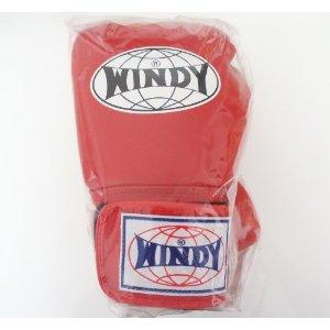 WINDY ウインディ 本革製キックボクシング グローブ 赤 12オンス
