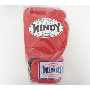WINDY ウインディ 本革製キックボクシング グローブ 赤 10オンス