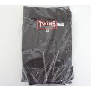 新 TWINS ツインズ 合皮製 キックボクシング レガース スネサポーター 黒 Mサイズ