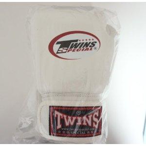 新 TWINS ツインズ 本革製 キックボクシング グローブ 白 6オンス