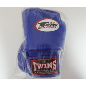 新 TWINS ツインズ 本革製 キックボクシング グローブ 青 6オンス