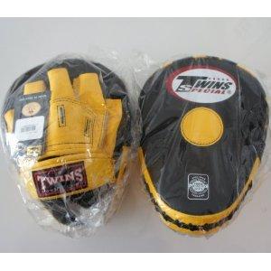 新TWINS ツインズ 本革製キックボクシング パンチングミット 黒黄