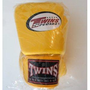 新 TWINS ツインズ 本革製キックボクシング グローブ 黄 10オンス