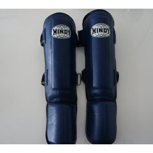 WINDY ウインディ 本皮製 キックボクシング レッグサポーター レッグガード 青 Lサイズ