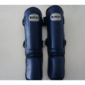 WINDY ウインディ 本皮製 キックボクシング レッグサポーター レッグガード 青 Mサイズ