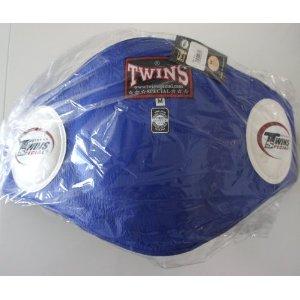 新 TWINS ツインズ 本革製 キックボクシング ボディープロテクター ボディーミット 青 Mサイズ
