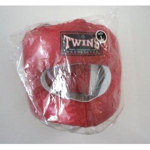 新TWINS ツインズ 本革製 キックボクシング フルフェイス型 ヘッドギア ヘッドガード 赤 Lサイズ