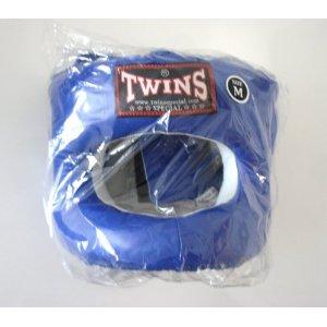 新TWINS ツインズ 本革製 キックボクシング フルフェイス型 ヘッドギア ヘッドガード 青 Mサイズ