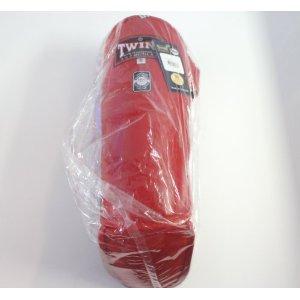 新TWINS ツインズ 本革製キックボクシングレガース 踵止め無し 赤 Sサイズ