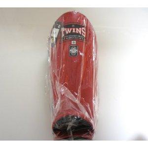 新 TWINS ツインズ 本革製 キックボクシング レガース レッグガード 赤 Sサイズ
