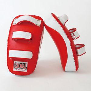 【送料無料】カーブキックミット 赤2個セット (高級レザー) キックボクシング・空手用 GLOBAL SPORTS グローバルスポーツ