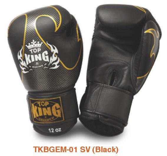 トップキング TOP KING キックボクシンググローブ タトゥ 銀黒 8オンス