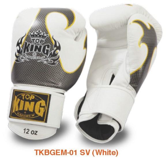 トップキング TOP KING キックボクシンググローブ タトゥ 銀白 16オンス