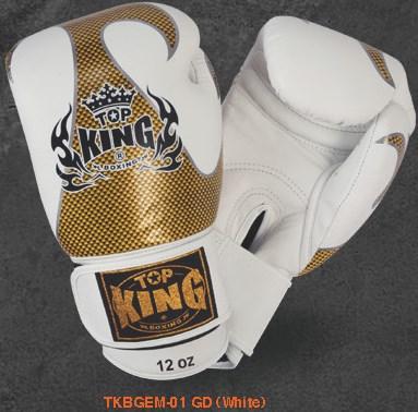 トップキング TOP KING キックボクシンググローブ タトゥ 金白 8オンス