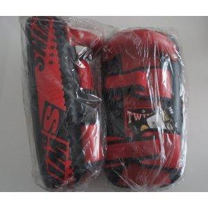 新TWINS ツインズ 本革製キックボクシング NEWキックミット 黒赤 Mサイズ