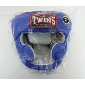 新 TWINS ツインズ 本革製 キックボクシング ヘッドギア ヘッドガード 青 Sサイズ